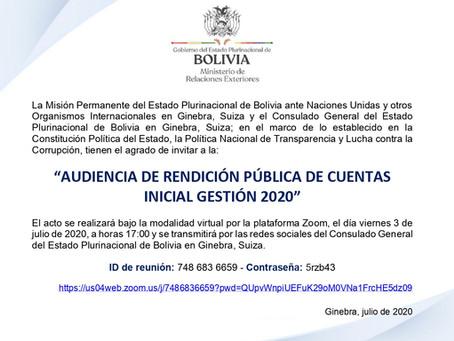 """""""AUDIENCIA DE RENDICIÓN PÚBLICA DE CUENTAS INICIAL GESTIÓN 2020"""""""