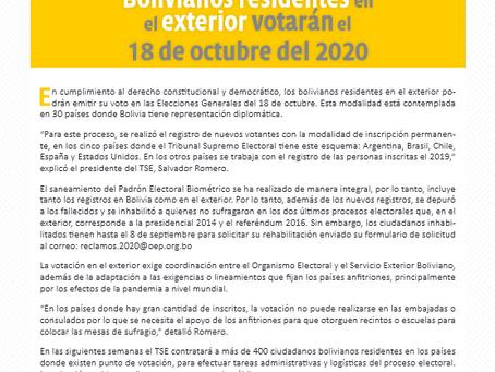 OEP: Bolivianos residentes en el exterior votarán el 18 de octubre