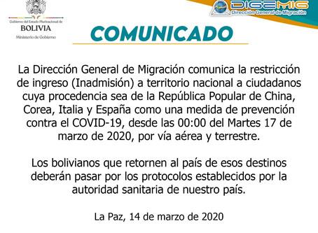 Restricciones de ingreso a Bolivia