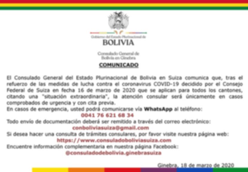 Comunicado Consulado Bolivia