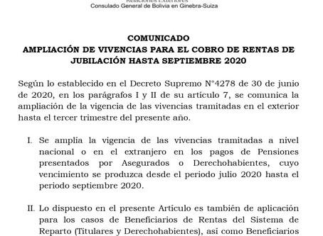Ampliación de vivencias para el cobro de rentas de jubilación hasta septiembre 2020
