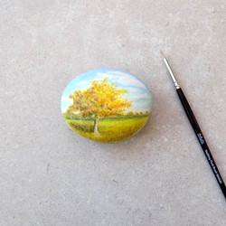 Autumn tree painted stone