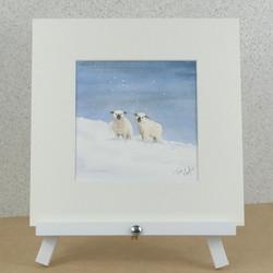 Winter sheep watercolour