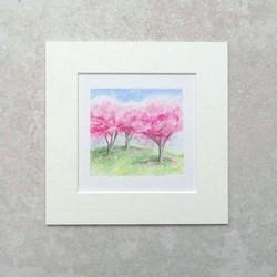 Miniature blossom trees watercolour