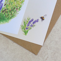 Lavender bee card, inside detail