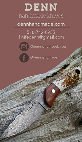 Colleencravendesigns denn knives with this business card i incorporated the clients beautiful photography of his handmade knives into the business card reheart Gallery