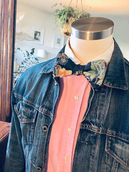Denim Floral Bow Tie