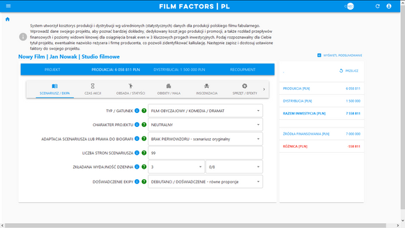FILM FACTORS - ustawianie faktorów