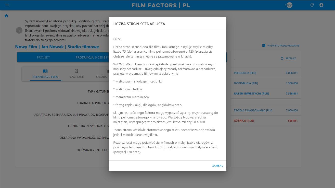 FILM FACTORS - opis faktorów