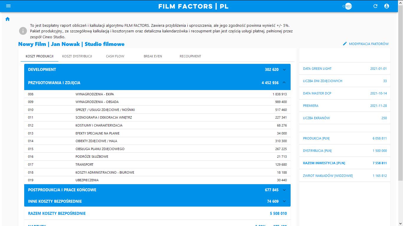 FILM FACTORS - raport kosztu produkcji
