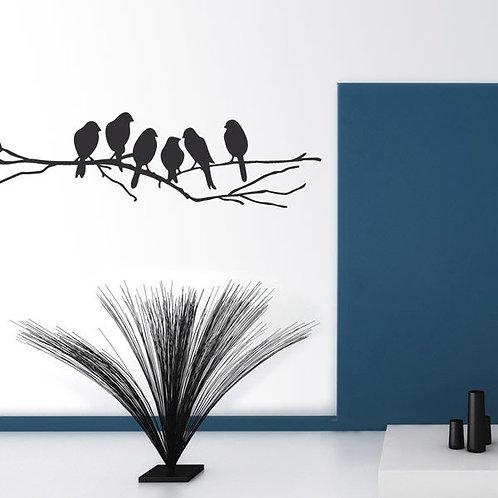 Vinilo de 6 pájaros sobre una rama
