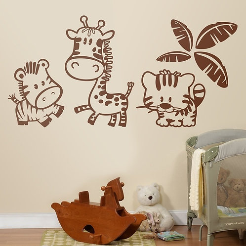 Vinilo decorativo infantil Animales en la selva