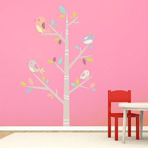 Vinilo decorativo infantil Árbol de pajaritos