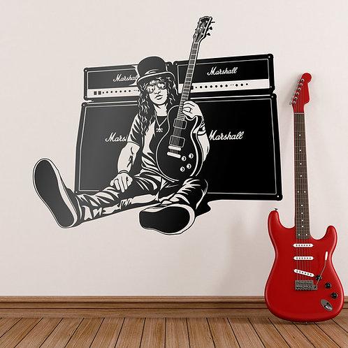 Vinilo decorativo Slash, guitarra y altavoces