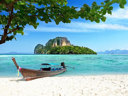 Fotomural playa y bote