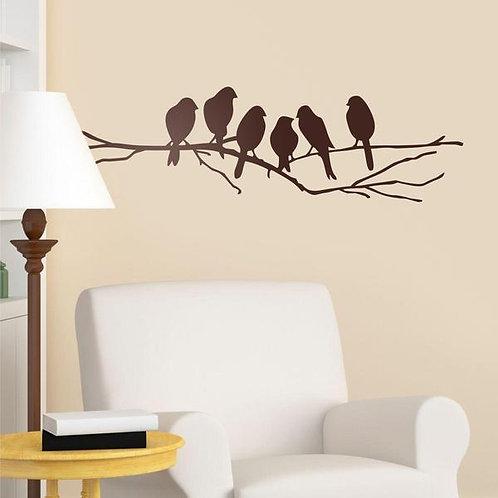 Vinilo decorativo 6 pájaros sobre una rama