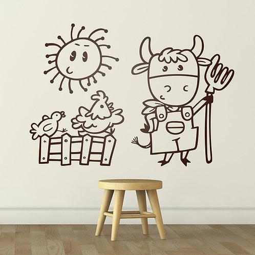 Vinilo decorativo infantil La vaca granjera