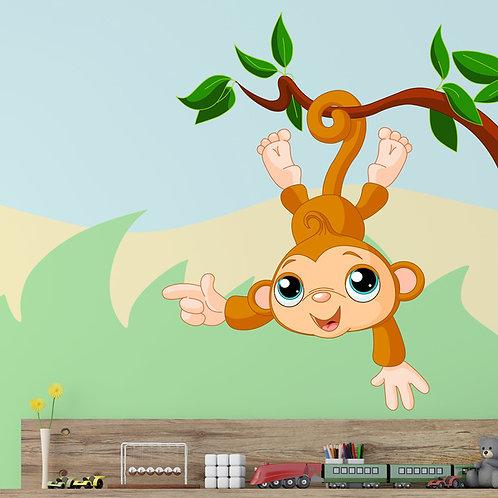 Vinilo decorativo infantil Mono cuelga de la rama