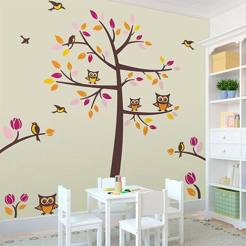 Vinilo decorativo infantil Árbol con pájaros y búhos