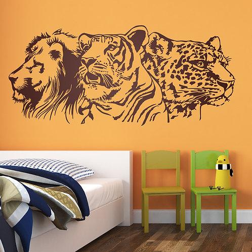 Vinilo decorativo león, tigre y leopardo