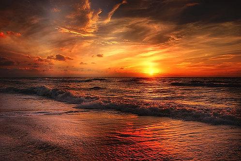 Fotomural ocaso playa