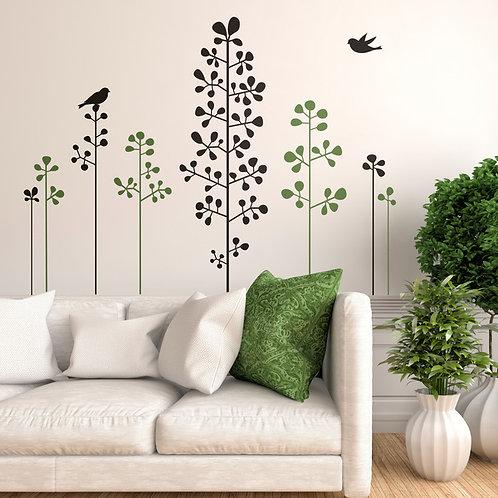 Vinilo Floral Arbustos y pajaritos