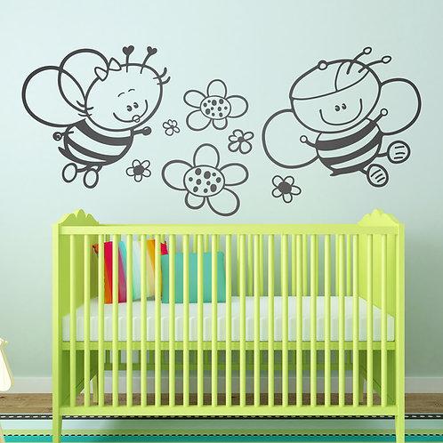 Vinilo decorativo infantil abejas y flores