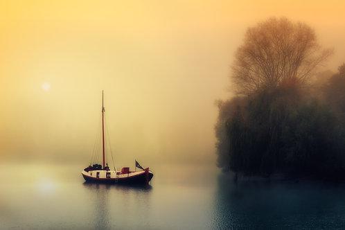 Fotomural barca en ocres