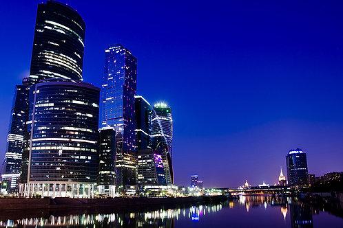 Edificios de los rascacielos del complejo del negocio de la ciudad de Moscú en l