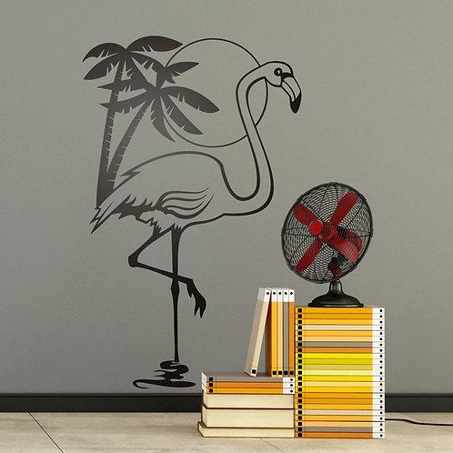 Vinilo decorativo Ave Flamenco, sol y palmeras