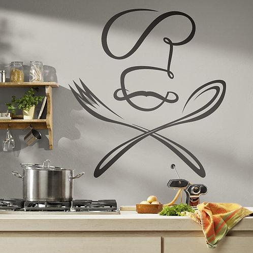 Vinilo decorativo Chef cuchara y tenedor