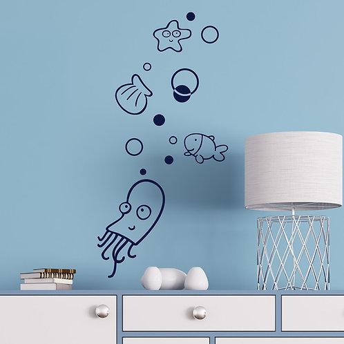 Vinilo decorativo animales marinos infantiles