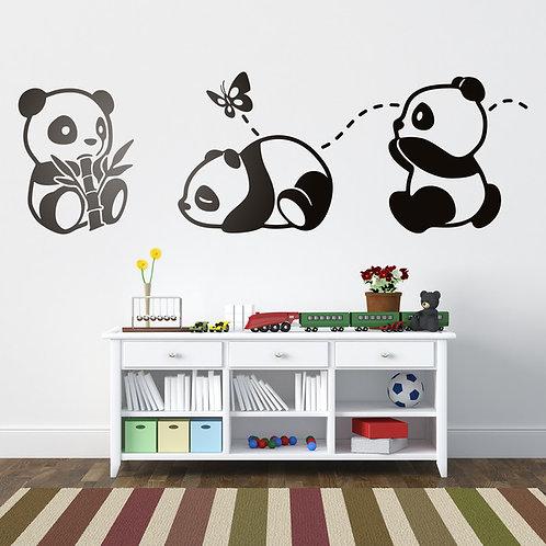 Vinilo decorativo infantil Los tres Pandas