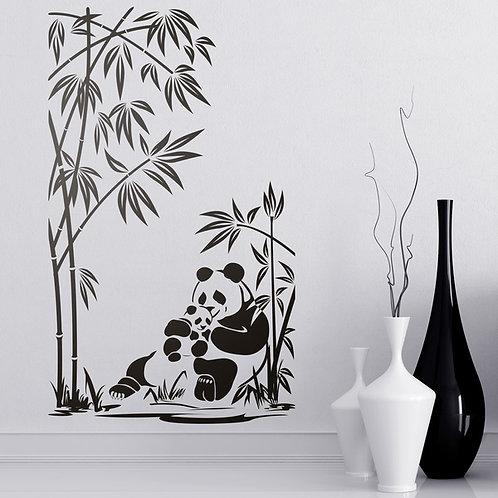 Vinilo decorativo Osos panda y cañas de bambú