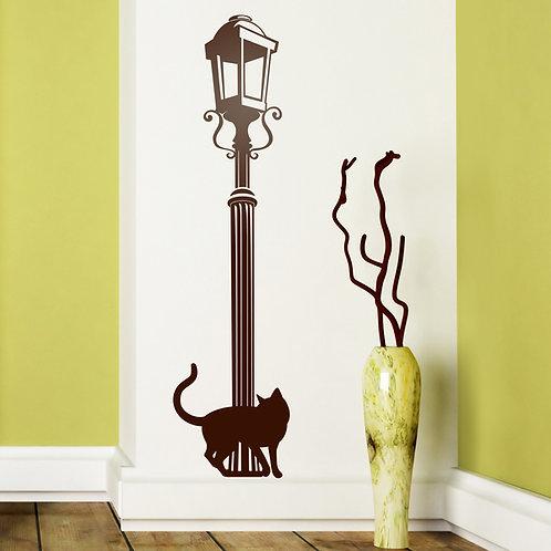 Vinilo decorativo farola vintage y gato