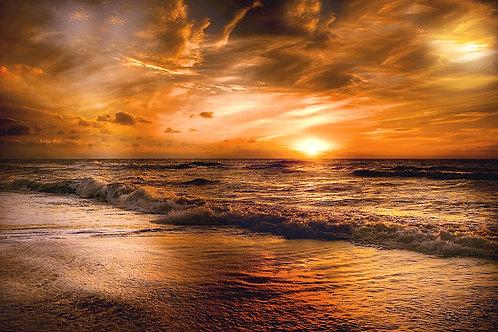 Fotomural playa en aterdecer