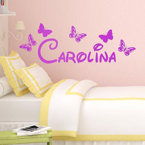 Vinilo decorativo infantil Nombre entre mariposas