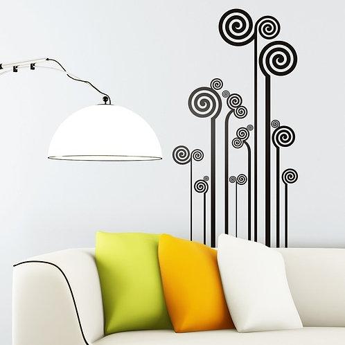 Vinilo de pared floral de espirales Milenium