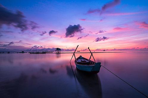 Fotomural bote y cielo en lilas