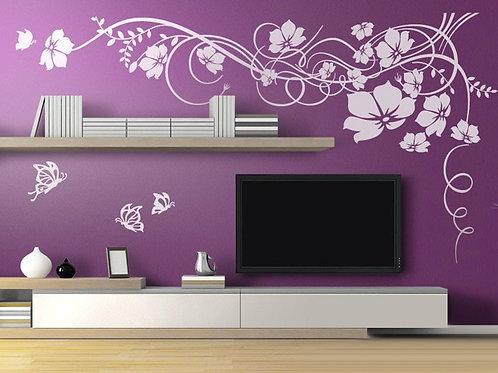 Vinilo decorativo Gran Floral con Mariposas