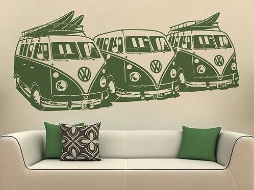 Vinilo decorativo 3 Furgonetas VW Surf