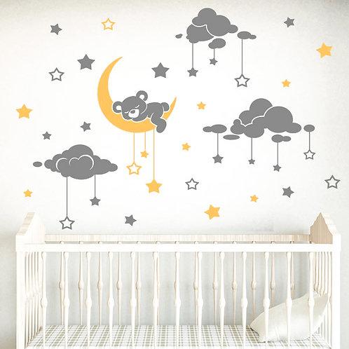 Vinilo infantil oso dormilón y cielo estrellado