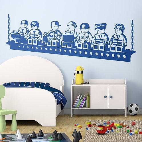 Vinilo decorativo infantil Almuerzo de obreros Lego