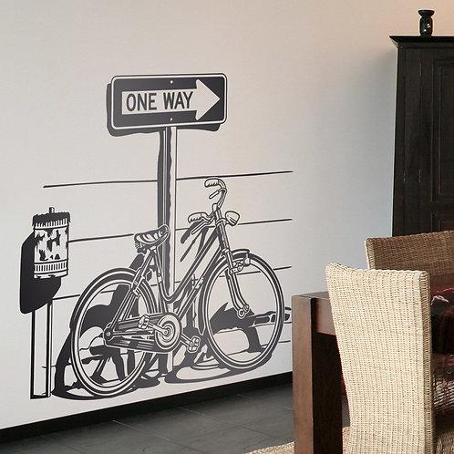 Bicicleta en señal de tráfico One Way