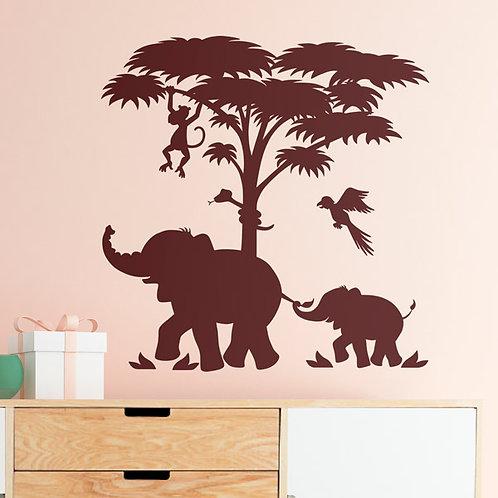 Vinilo decorativo infantil Familia de Elefantes en África