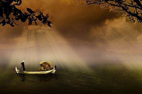 Fotomural laguna y bote