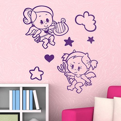 Vinilo decorativo infantil Ángel y Demonio