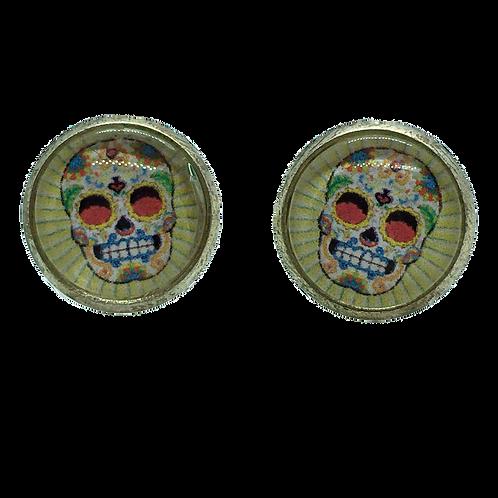 Mexican Skull, green Stripes