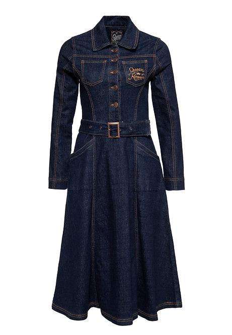 QUEEN KEROSIN, Denim Dress dark blue