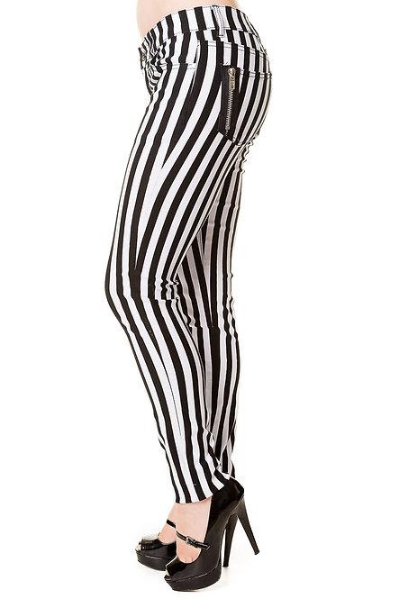 BANNED, Stripe Skinny Jeans black/white